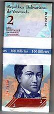 BUNDLE , 100 PCS ,100 BILLETS VENEZUELA 2 BOLIVARES 2013 P90  DAUPHINS UNC NEUF