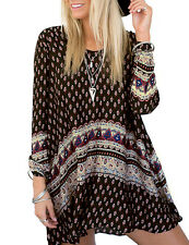 US - Vintage Women Long Sleeve Floral Printed Tops Blouse Casual Mini Dress , L