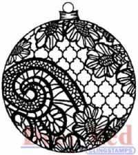 Deep Red Rubber Cling Stamp Lace Ornament Christmas Ball