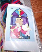 Design Works ANGEL STAINED GLASS WINDOW Wall Hanging Plastic Canvas Kit