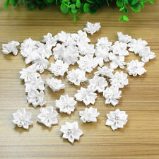 40Pcs Satin Ribbon Flowers Appliques Craft Wedding Party Sewing DIY Decor White
