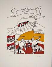 """""""Funérailles Etrusques"""" 1959, lithographie de LAPICQUE Charles"""
