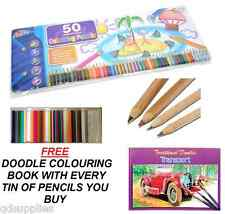 TIN 50 ARTIST COLOURING COLOUR PENCILS DRAWING SKETCHING & FREE DOODLE BOOK T50P