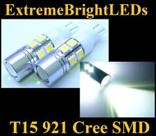 TWO Xenon HID WHITE T15 921 2825 Cree Q5 + 10-SMD Backup Lights #85A