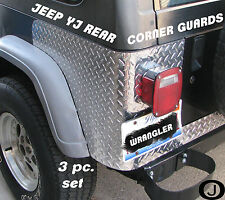 JEEP CJ7 OR YJ WRANGLER 3 PC DIAMOND PLATE REAR BODY ARMOR CORNER GUARD KIT