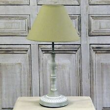 French Style Shabby Chic Farmhouse Grey Washed Distressed Table Lamp Linen Shade