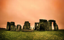 Framed Print - Epic Red/Peach Sky over England's Stonehenge (Picture Poster Art)