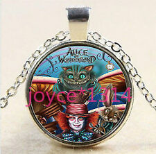 MAD HATTER ALICE IN WONDERLAND johnny depp  goth Glass Necklace Silver cat movie