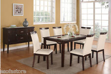 Modern Cream Faux Leather 7Pc Dining Set Table Chairs Dining Room Furniture Home