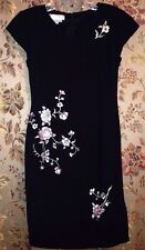 Maggie London Petite 6 Black Holiday Cocktail Dress Asian Embroidery, Gorgeous!!