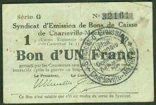 NECESSITE 1 FRANC BON DE CAISSE DE CHARLEVILLE MEZIERES ETAT: TTB lot 502