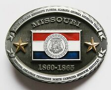 PATRIOTIC COWBOY WESTERN THE SNOW ME STATE OF MISSOURI FLAG BELT BUCKLE