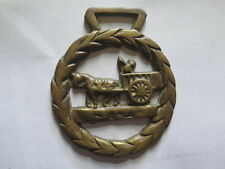 HORSE BRASS of a HORSE & CART & DRIVER INSIDE a WREATH c1960s EXCELLENT DETAIL