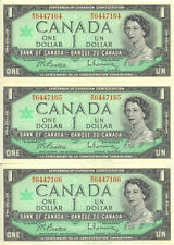 Centennial of Canadian Cenfederation 1867-1967 $1 One Dollar Lot of 3 Notes UNC