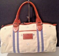 Rugby Ralph Lauren Silver Skull & Cross Bone Ivory Canvas Leather Duffle Bag EUC