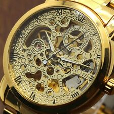 New WINNER Men Golden Skeleton Automatic Mechanical Stainless Steel Band Watch