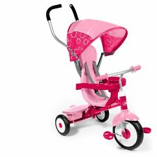 Radio Flyer 4 in 1 TRIKE, Adjustable Seat Girls Ride On TRICYCLE, Pink