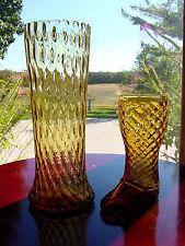 """2-ViNTaGe LARGE 10"""" FLaReD & 6"""" Boot~Amber DiaMoND OpTiC ITALIAN ArT GLaSs Vases"""