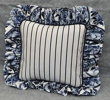 Ralph Lauren Palm Harbor Stripe Navy Blue & White Custom Pillow with Ruffle