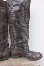 Sundance Made in Italy Brown & Gray Printed Leather Snakeskin Boots Size 37 6.5