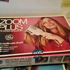 Vintage Zoom Plus Hair Dryer Detangler GE One DD-1 3 Way Style 600 Watt Brush