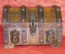 Vintage Wooden Pirate Treasure Chest Lion Head Trinket Jewelry Box