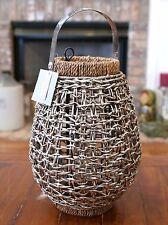 """Nice! Woven Metal 13"""" Basket Lantern Bright Metal & Rope Candle Holder Light"""