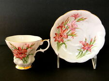 Royal Albert Friendship Series Footed Cup and Saucer Set Gladiolus Bone China