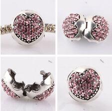 1pcs silver love ball pink CZ snap beads fit Charm European Bracelet DIY WW958