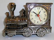 GUNMETAL DARK CHROME FINISH CLASSIC ANTIQUE TRAIN LOCOMOTIVE ANALOG ALARM CLOCK