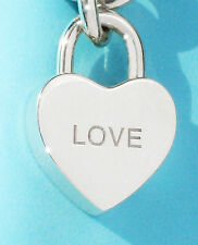 "Tiffany & Co Sterling Silver NOTES ""LOVE"" Heart Padlock Charm ONLY"