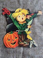 Vintage Dennison Die Cut Scarecrow JOL Pumpkin Witch Halloween Decoration