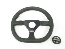 Sparco L360 Steering Wheel 330mm Black Leather Flat Dish w/ Flat Bottom NEW