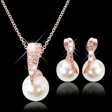 Wedding Jewelry Set Bride Crystal Faux Pearl Pendant Necklace Earrings Candid