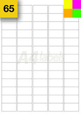Fluorescent blank sheets A4 Printer Labels. Dayglow colours Orange Green Yellow
