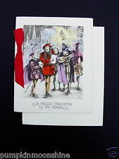 Vintage Unused 1900's Xmas Greeting Card Holiday Carolers Singing in Street