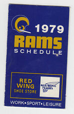 1979 RED WING SHOW STORE LOS ANGELES RAMS POCKET SCHEDULE SKED RARE VERSION