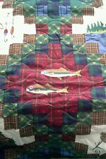 New Twin QUILT Lure Fish FLY fishing Lodge cabin lures lake boat duck keel trees