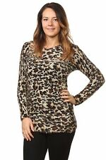 Ladies Women's Fluffy Knitted Animal Print Stretched Sweater Tops Jumper 10-14