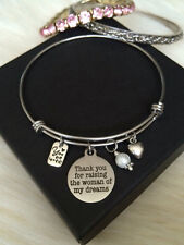 Thanks for Raising Woman of my Dreams Mother Day in Law Bangle Bracelet Gift