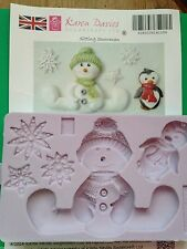 Karen Davies Sitting Snowman Snowflakes penguin.Christmas Cake Sugarcraft Mould