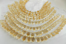 25 pc strand AAA CITRINE faceted gem stone teardrop briolette beads 6mm - 9mm