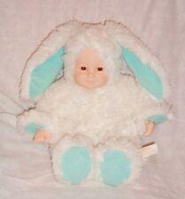 Poupée bébé peluche Anne Geddes 1997 Lapin blanc & vert (38cm) tbé