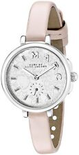 BRAND NEW MARC JACOBS MJ1420 SALLY SILVER FLOWER DIAL PINK LEATHER WOMEN'S WATCH