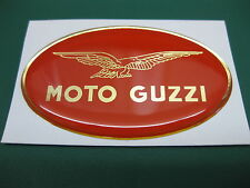 1 Domed Moto Guzzi sticker Mirror Gold on Red All Models