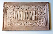 "Welcome Sign ~ Distressed Wood Decorative Ornate Shabby Chic ~ 15.75"" x 9.75"""