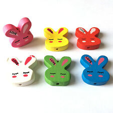 Clearance Sale! Wholesale Lot 20 Mixed Color Wood Beads Findings Bunny 2CM