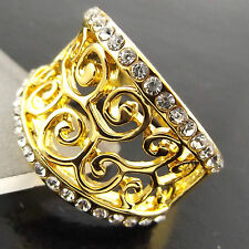 A538 GENUINE REAL 18CT YELLOW G/F DIAMOND SIMULATED ANTIQUE FILAGREE DESIGN RING