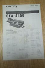 Service Manual for the Crown CTA-4450 Telephone Answering Machine