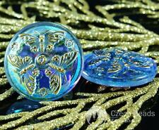 Handmade Czech Glass Buttons Large Butterfly Crystal Blue Gold AB Size 12, 27mm